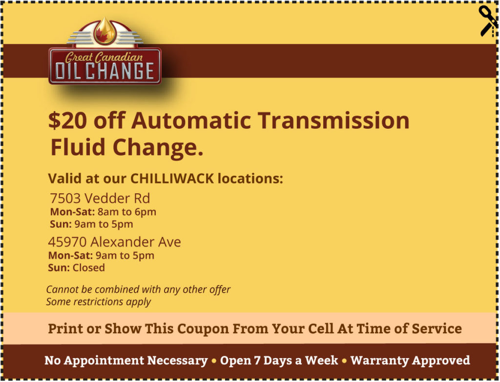 Chilliwack-coupon-$20-off-Automatic-Transmission-Fluid-Change.
