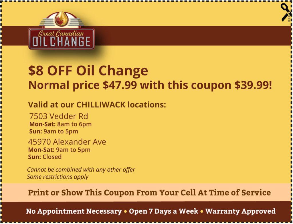 Chilliwack-coupon-$8-off-oil-change