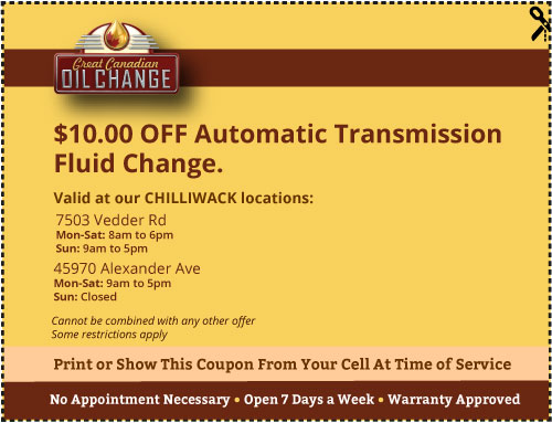 $10 off Chilliwack transmission service coupon