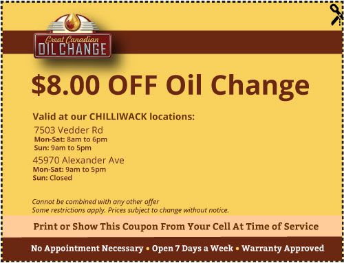$8 off Chilliwack oil change coupon