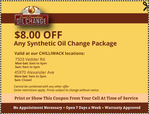 $8 off Chilliwack synthetic oil change coupon